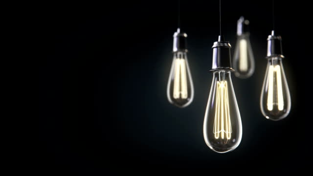 Group of vintage bulb lights 3d animation. Lights is turned on. video