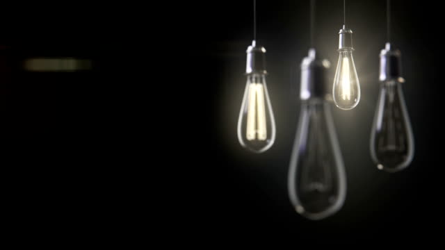 Group of vintage bulb lights 3d animation video