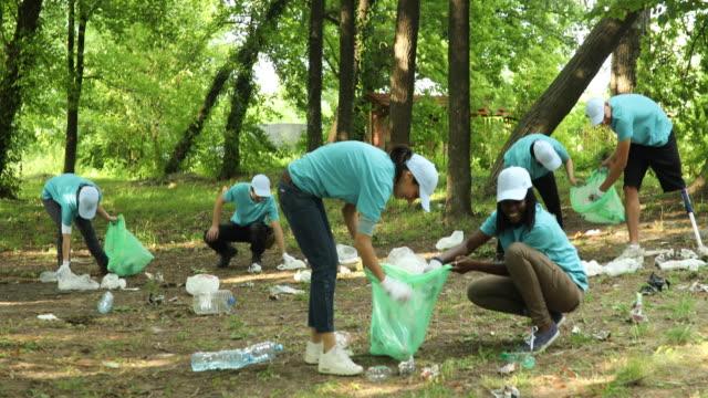 公園の清掃のボランティアのグループ - community activism点の映像素材/bロール