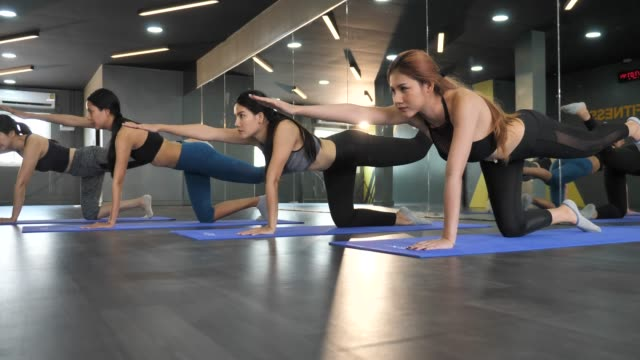gruppo di donne che fanno yoga stretching e relax in lezione di yoga - materassino ginnico video stock e b–roll