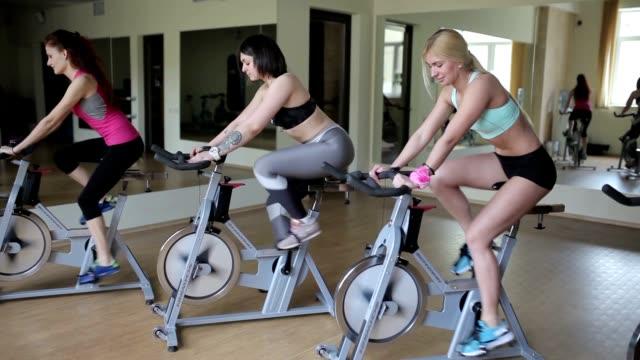 vídeos de stock e filmes b-roll de grupo de mulheres, andar em bicicletas de exercício no ginásio - aparelho de musculação