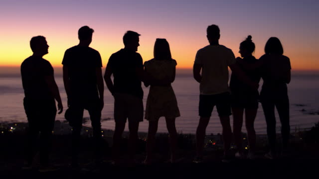 Group of young adults talking at sunset on a beach video