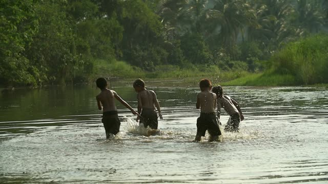 Group of young boy playing water splash with his buffalo on the field.Illustrate of a lifestyle of Asian developing countries. video