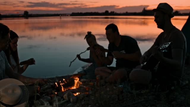 SLO MO Group of young people camping by the lake at dusk Slow motion shot of a group of young people singing and grilling corn on the cob over a campfire by the lake at dusk. picnic stock videos & royalty-free footage