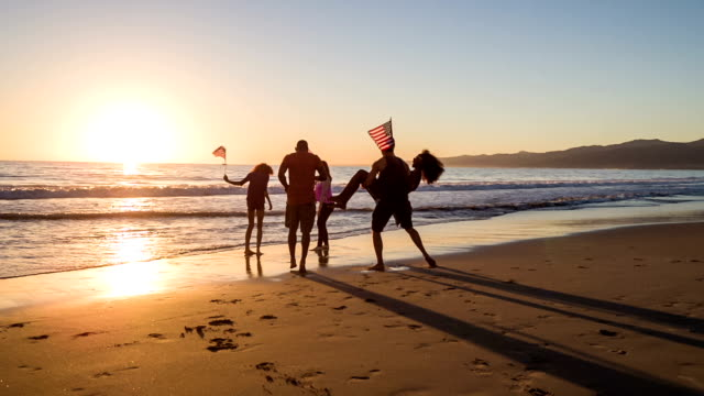 Group of young people celebrating on the beach video