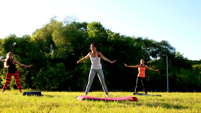 group of young people having kick boxing training , outdoor video