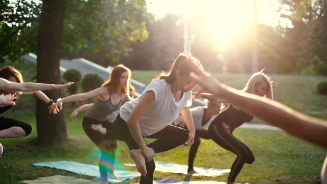 Group of young woman in sportswear are standing in yoga position on one leg Group of young woman are standing in one of yoga position on one leg morning in park while sunrise. Group of people meditating in slow motion. Rays of sun are shining in camera yoga stock videos & royalty-free footage