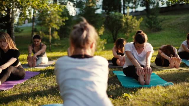夏に公園でヨガマットに足を伸ばす若い女性のグループ - ヨガ点の映像素材/bロール