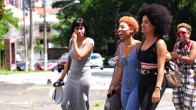 Group of Young women walking in the street Weekend Activities girlfriend stock videos & royalty-free footage