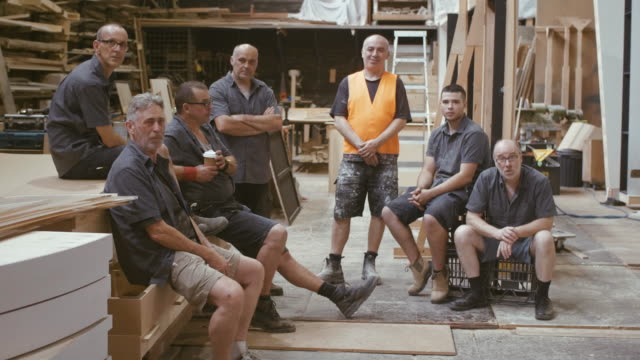 Group portrait of carpenters (slow motion) Carpentry workshop in Sydney, Australia. carpenter stock videos & royalty-free footage