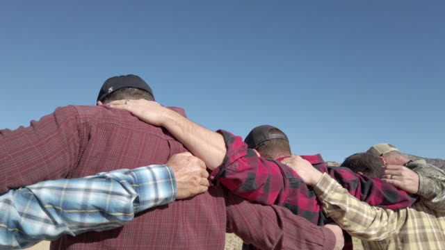 Group Prayer Men and Boys Outdoor Activities in Western Colorado Desert Active Group of Men and Boys Outdoor Fun Gathering and Praying in Western Colorado Enjoying Creating (Video Shot 4K rendered DaVinci Resolve 25 FPS second clips) country geographic area stock videos & royalty-free footage