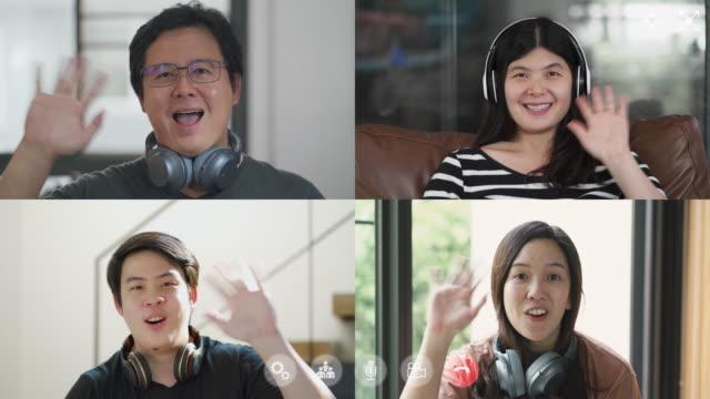 グループビデオ会議とオンライン会議, 自宅で作業 - テレビ会議 日本人点の映像素材/bロール