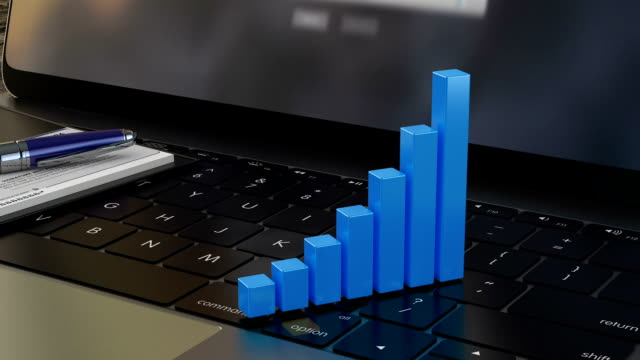 Growing 3D financial graph on laptop keyboard, financial statistics, analytics video