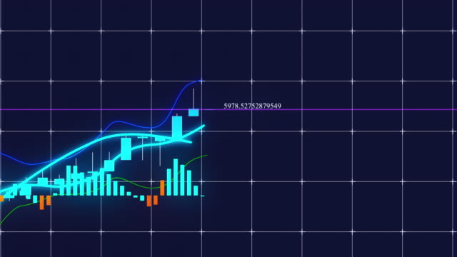 growing candlestick chart of stock market investment trading. computer generated business background, 3d rendering - candeliere video stock e b–roll