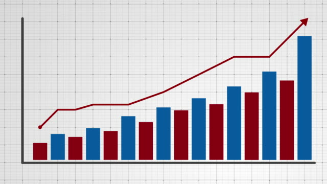 Growing chart with arrow animation