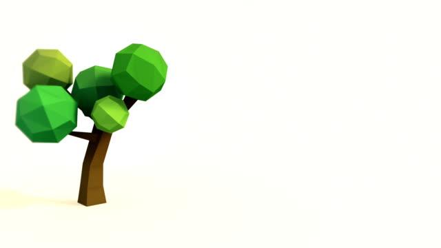 vídeos de stock, filmes e b-roll de lowpoly árvore crescendo - ilustração e pintura