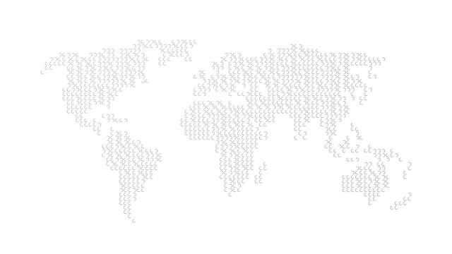 Growing metal rings form an abstract world map - business or corporate concept motion background