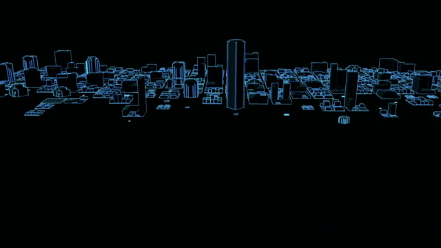 Growing Neon City Animation of a growing digital or neon city blueprint stock videos & royalty-free footage
