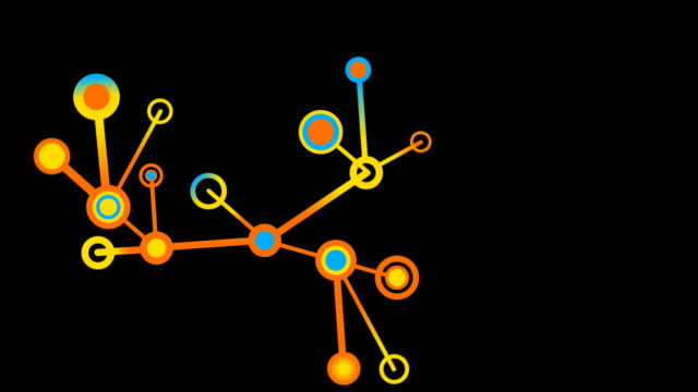Growing Network of lines and circles, fills screen. video