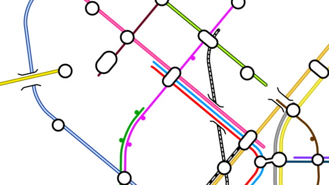 Growing transport network map loop. HD, NTSC, PAL video