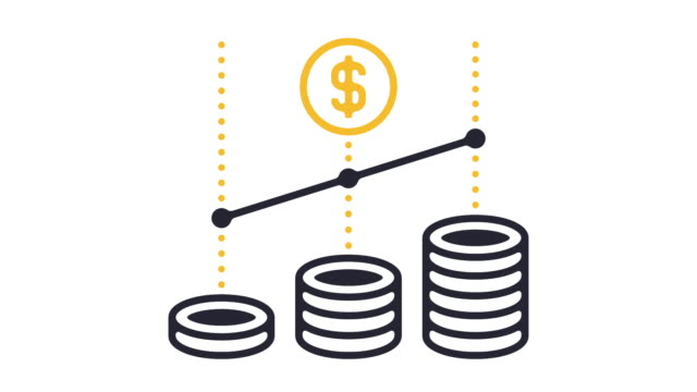 Growth Icon Animation Thin line animation of equity growth icon on white background. growth icon stock videos & royalty-free footage