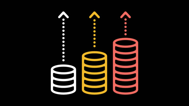 vídeos de stock e filmes b-roll de growth rates line icon animation with alpha - benefits