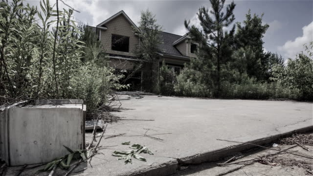 Grunge Abandoned Residential House Dolly Timelapse