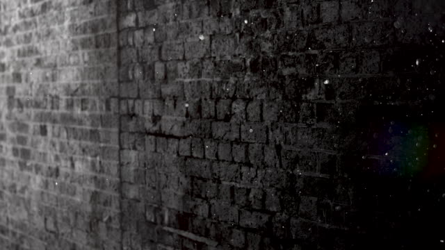 Grunge Black and White Brick Wall Brackground. 4k Stock Video A grunge looking brick wall with dust particles floating in the foreground. concrete architecture stock videos & royalty-free footage