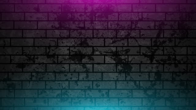 Grunge brick wall with neon glowing lights video animation