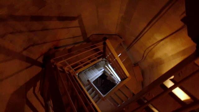 Grunge dark industrial spiral staircase video