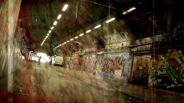 Grunge Graffiti Tunnel time-lapse. HD video