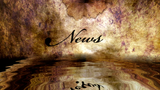 grunge news text reflecting in water - newsletter video stock e b–roll