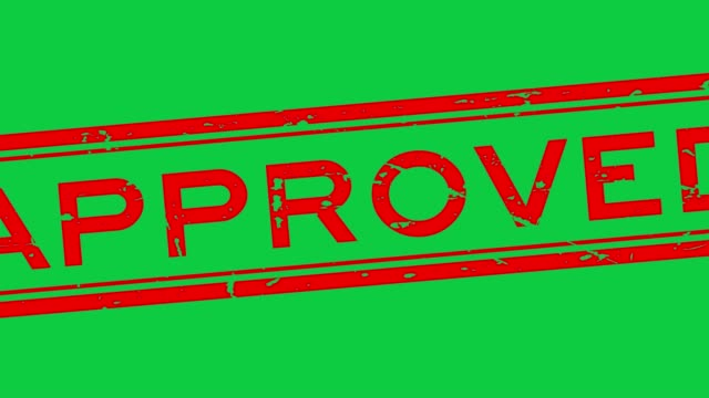 Grunge red approved word square rubber seal stamp zoom out on green background