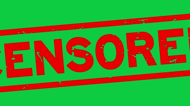 grunge red censored word square rubber seal stamp zoom out from green background - censura video stock e b–roll