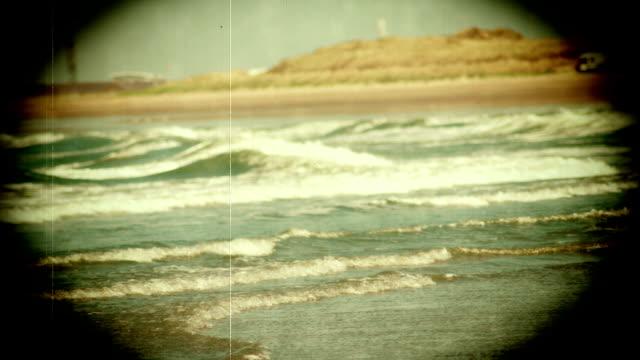 Grunge Vintage Look Of The Ocean Waves Loop Stock Video
