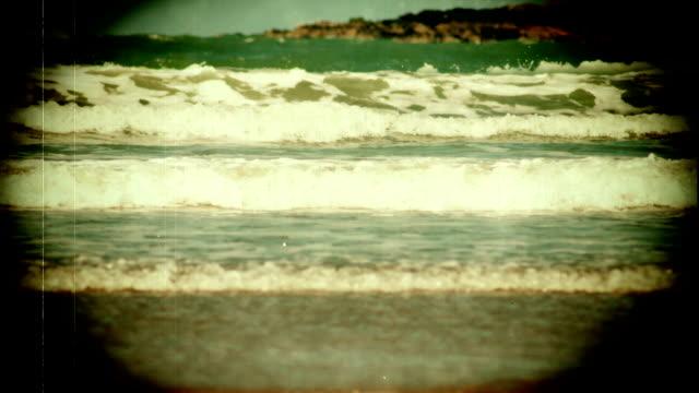 Grunge Vintage Look Of The Ocean Waves Loop Stock Video - Download