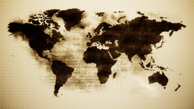 Grunge World Map HD Vintage looking old and grained world map. Appears like burns on the paper. HD 1080. sepia toned stock videos & royalty-free footage