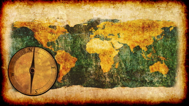 Grunge World with Compass  map videos stock videos & royalty-free footage
