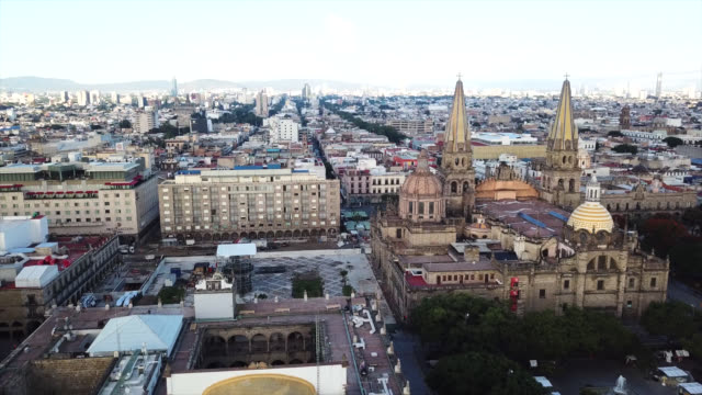 Guadalajara View of the Guadalajara Cathedral. cathedrals stock videos & royalty-free footage