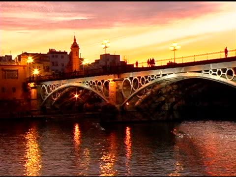 Guadalquivir River at Dusk in Seville Spain video