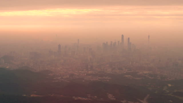 guangzhou aerial view - smog video stock e b–roll