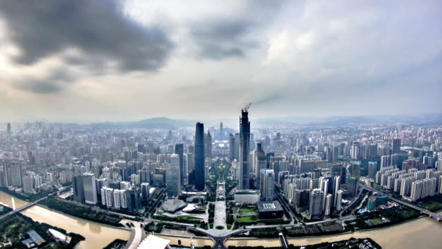 Guangzhou city storm and rain sunset timelapse video