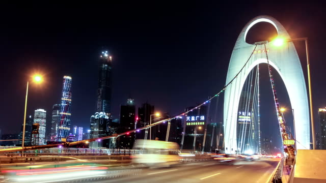 guangzhou liede bridge panoramica e zoom out (zoom indietro) - cbd video stock e b–roll