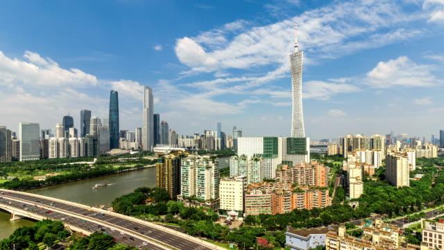 広州のスカイライン。タイムラプス/4 k/広州、中国。 - 中国 広州市点の映像素材/bロール
