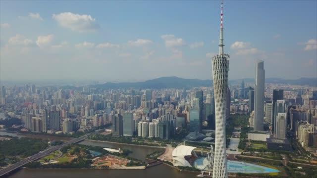 広州晴れた日珠江海心沙島ダウンタウン一部空中パノラマ 4 k 中国 - 中国 広州市点の映像素材/bロール