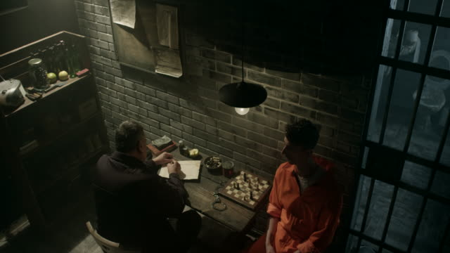 Guard interrogating men in prison video