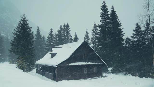 hölzerne pensionen in den bergen unter den wald im winter. - blockhütte stock-videos und b-roll-filmmaterial