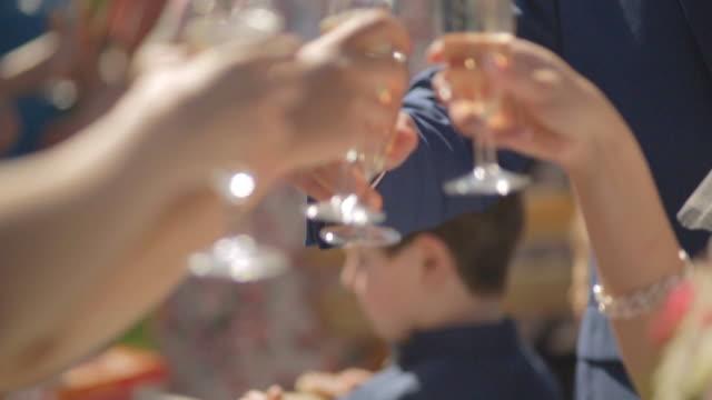 vídeos de stock, filmes e b-roll de convidados em um casamento com a noiva e o noivo tinido copos de champanhe ou vinho branco - rústico