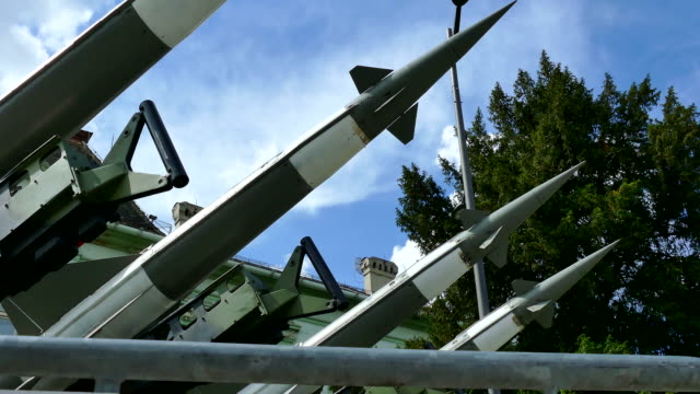 Guided missile on launch ramp Launching ramp with military missile systems to defend against attacks from the air.Mid-range rocket systems nuclear missile stock videos & royalty-free footage