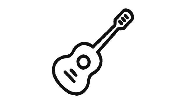 vídeos de stock, filmes e b-roll de guitar icon animation footage & alpha channel - música acústica